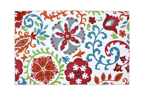 Nylon Area Rug With Floral and leafy Pattern, Small, Multicolor