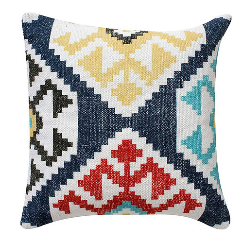 18 x 18 Cotton Hand Woven Zippered Pillow with Kilim Print, Multicolor
