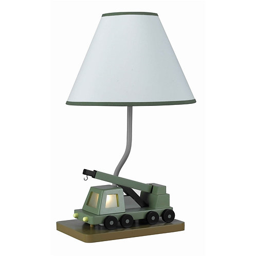 Boom Crane Design Resin Table Lamp with Fabric Shade, White and Green
