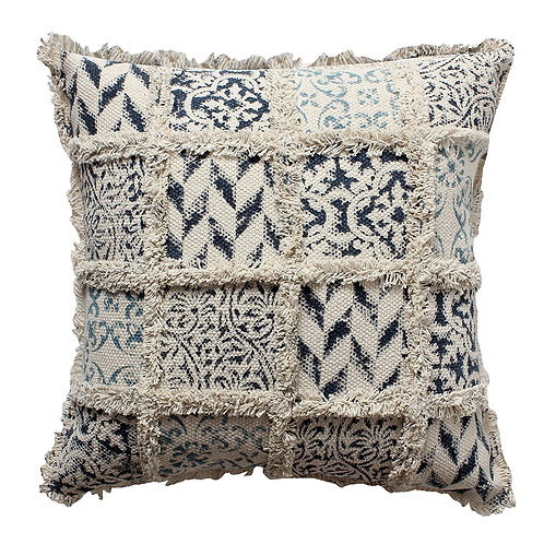 18 x 18 Hand Block Printed Cotton Pillow with Fringe Details, Beige and Blue