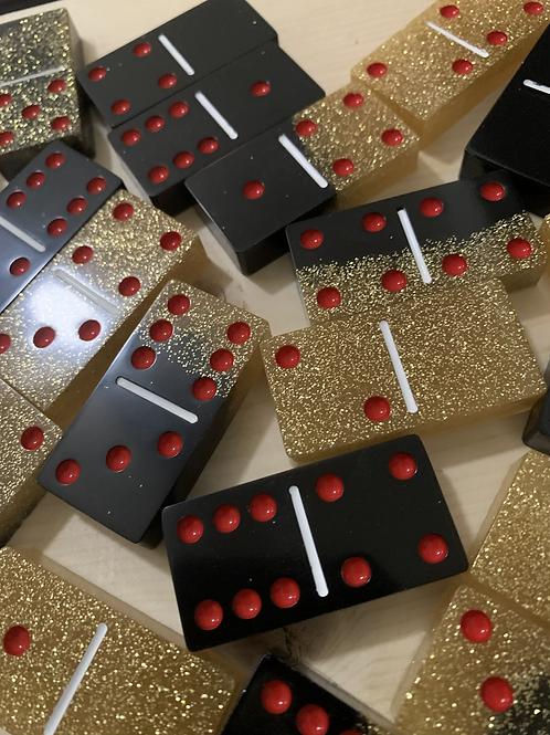 Black & Gold Glitter Custom Domino Set