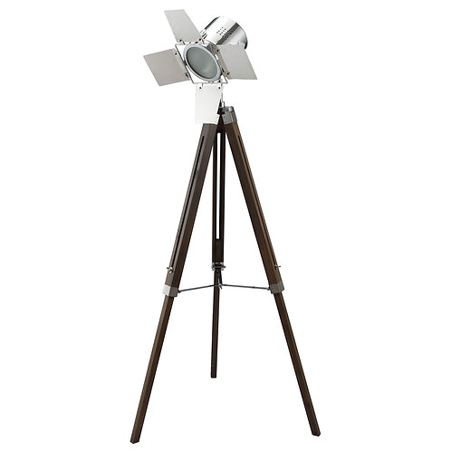 Spotlight Metal Floor Lamp with Wooden Tripod Base, Brown and Silver