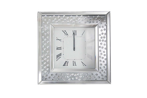 Square Shape Mirrored Analog Wall Clock with Wooden Backing, Clear
