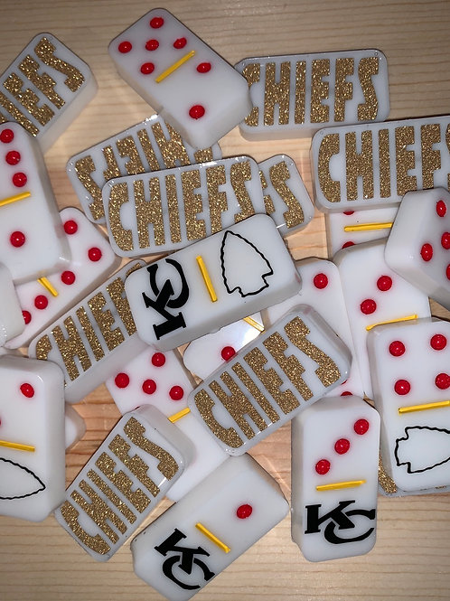 Kansas City Chiefs Resin Dominoes-White