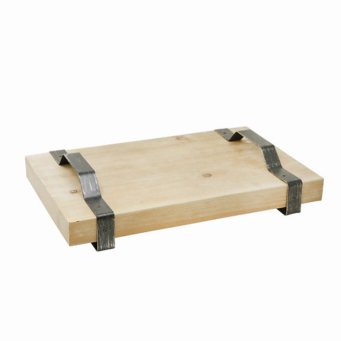 Wooden Decorative Rectangular Tray with Metal Handles
