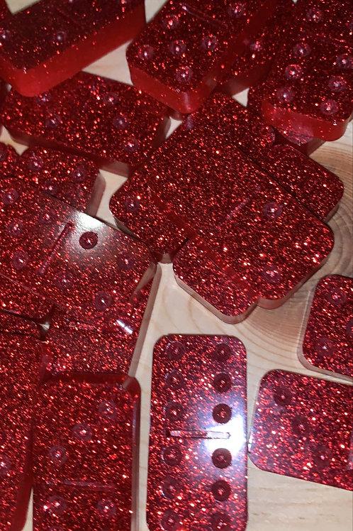 Red Glitter Resin Dominoes