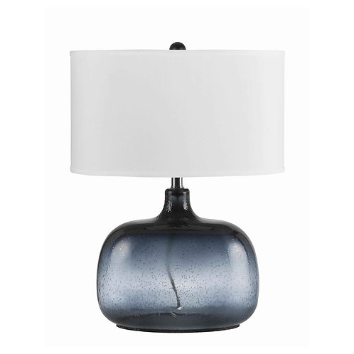 Glass Body Table Lamp with Drum Shade and Bubble Design, Blue and White