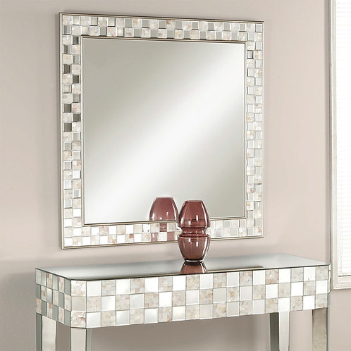 Square Wall Accent Mirror, Gold