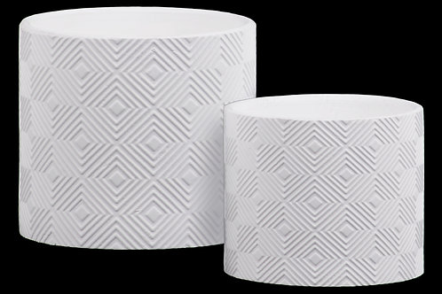 Stoneware Embossed Lattice Concentric Diamond Design Pot, Set of 2, White