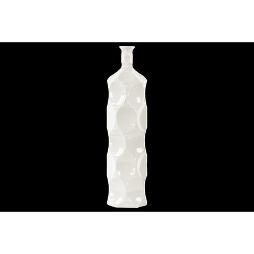 Contemporary Ceramic Bottle Vase With Dimpled Sides, Large, White