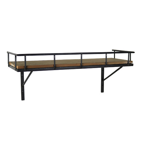 Wood and Metal Rectangular Wall Shelf with Guardrail, Large, Brown