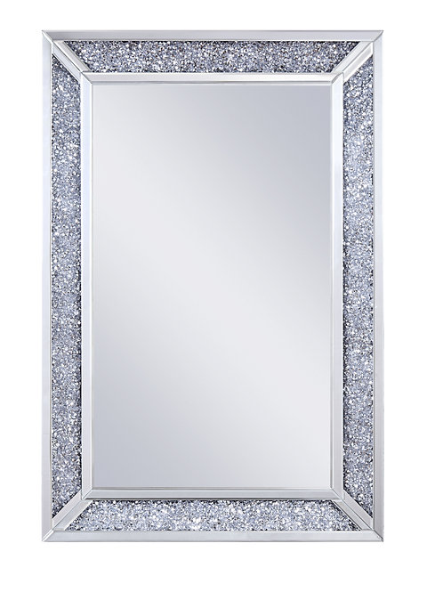 Rectangular Faux Crystal Inlaid Mirrored WallDecor with Wooden Backing, Clear
