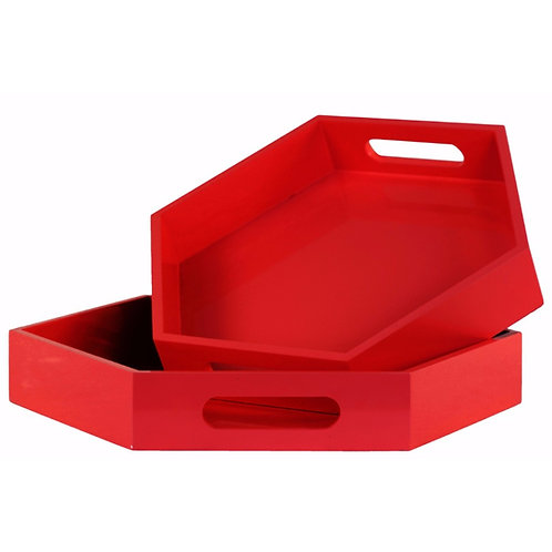 Hexagon Serving Trays-Set of 2-Red