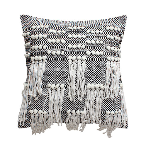 18 x 18 Textured Cotton Accent Pillow with Fringe Details, White and Black