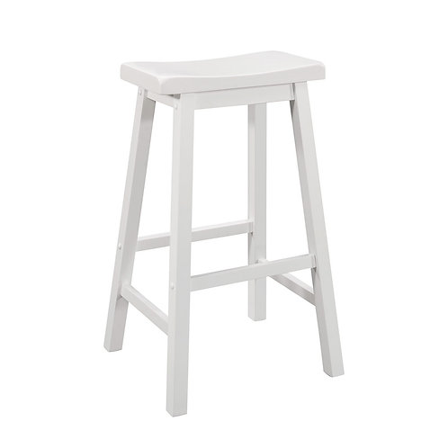 Wooden Bar Height Stool w/ Scooped Seat, Set of 2, White