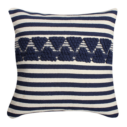 18 x 18 Textured Cotton Accent Pillow with Stripe Print, White and Blue