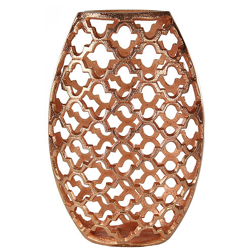 Metal Vase with Quatrefoil Cutout Design, Rose Gold, Small