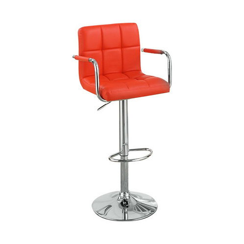 Chair Style Barstool With Faux Leather Seat And Gas Lift Red And Silver Set of 2