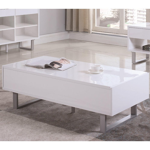 Contemporary Storage Coffee Table With Metallic Base, Glossy White