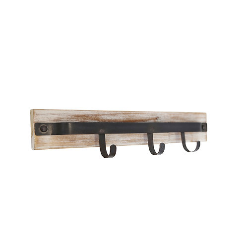 Traditional Metal and Wooden Wall Hanger with Three Hooks, Brown and Black