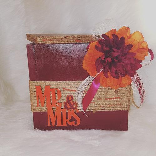 Burgundy/Orange Wedding Card/Keepsake Box