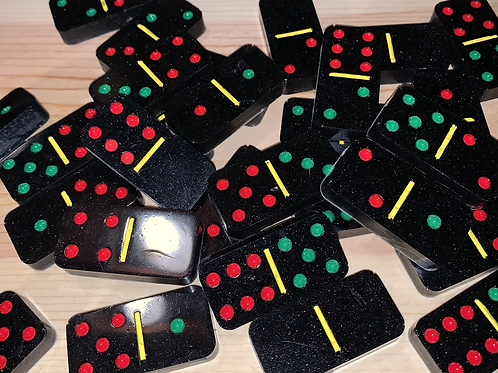 Black Resin Domino Set (Red, Green & Yellow Dots)