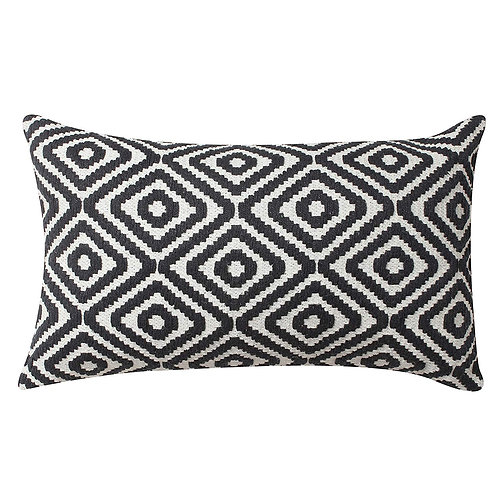 12 x 20 Cotton Hand Woven Dhurri Pillow with Diamond Pattern, Black and White