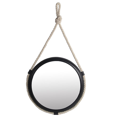 Metal Encased Round Wall Mirror with Braided Rope, Small, Black and White