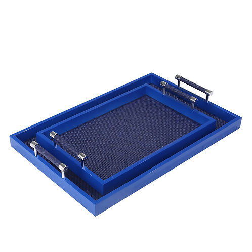 Rectangular Wooden Tray with Leatherette Base, Set of 2, Navy Blue