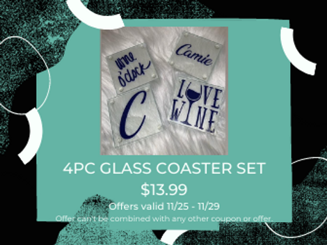 4PC GLASS COASTER SET