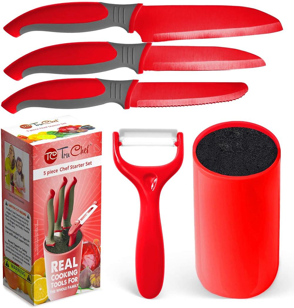 kids knife, safe knives red, gifts for kids