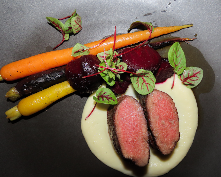 Pan Roasted Venison, root vegetables, Jerusalem artichokes and cherry wine jus