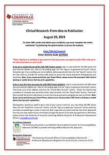 2019 Clinical Research Course Accreditat