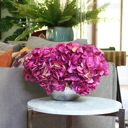 Fuchsia Pink Hydrangeas- Three Stems