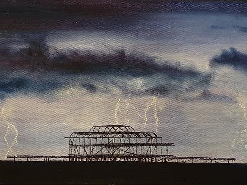 Brighton Pier painting A4 print