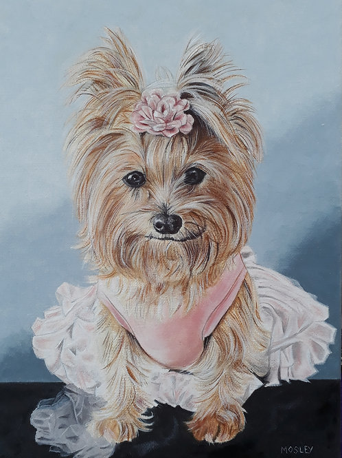 Yorkie in a Tutu painting A4 print