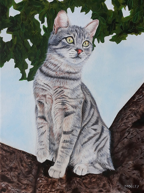 Cat in a Tree painting A4 print