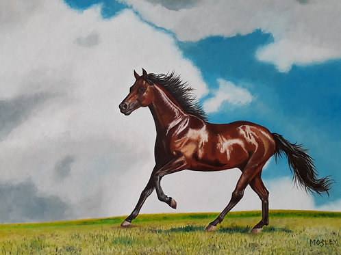 Galloping Horse painting A3 print