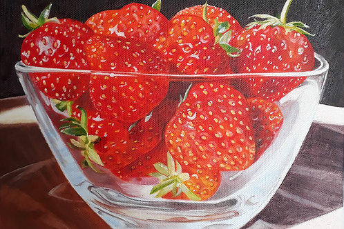 Strawberries painting A4 print