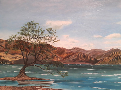 Waikiki Tree painting A4 Print