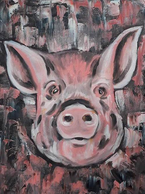 Pig painting A4 print