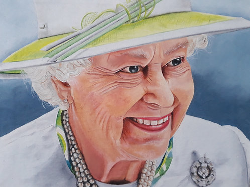 The Queen painting A3 print