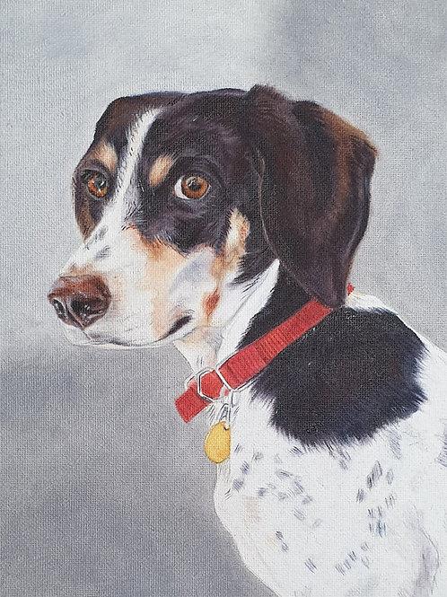 Black & White Dog painting A4 print
