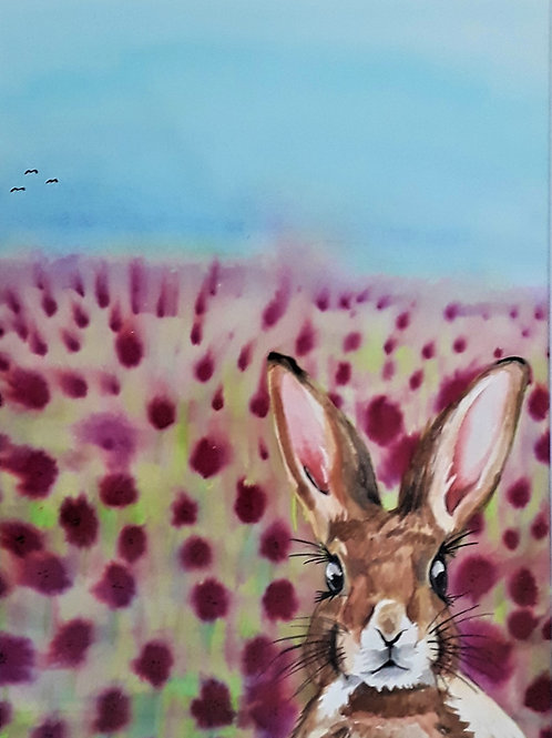 Rabbit among the Poppies painting A4 Print