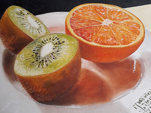 Kiwi & Orange painting A4 print