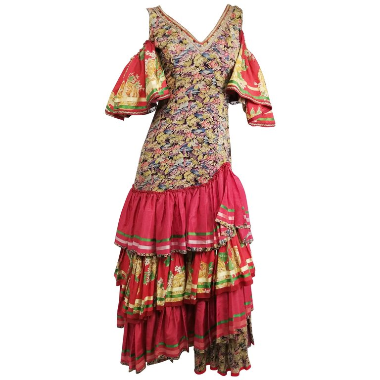 1950s Colorful Printed Flamenco Dress