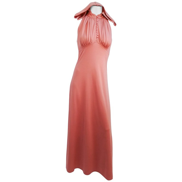 1970s Pink Hooded Halter Jersey Maxi Dress