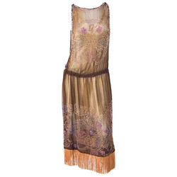 20s Brown Chiffon Dress with Peach Beading & Fringe