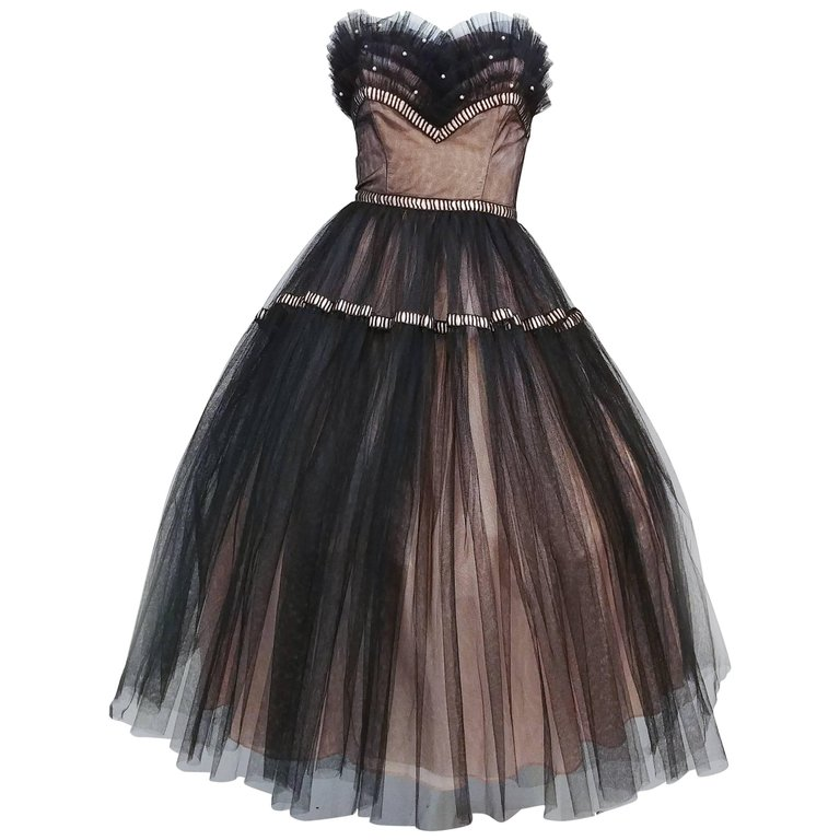 1950s Emma Domb Black and Pink Tulle Party Dress