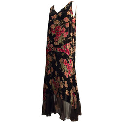 20s Velvet Floral Printed Drop Waist Dress
